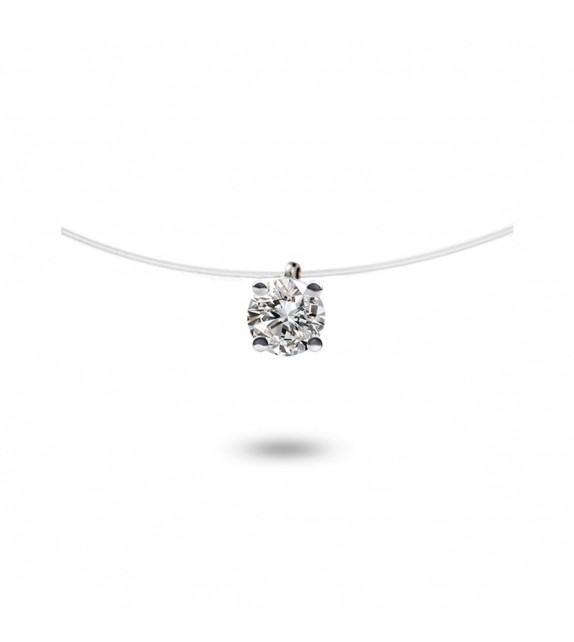 Collier diamant solitaire Or blanc 750/00 sur fil nylon