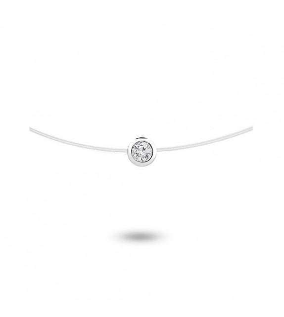 Collier diamant serti clos Or blanc 750/00 sur fil nylon