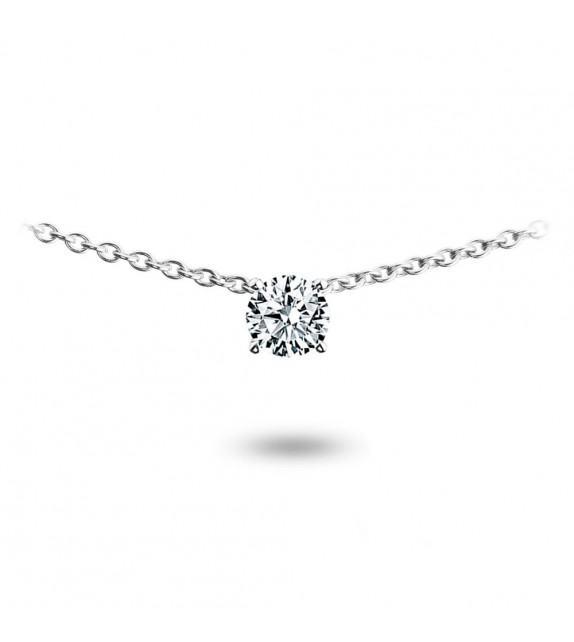 Collier solitaire diamant serti clos et Or blanc 750/00