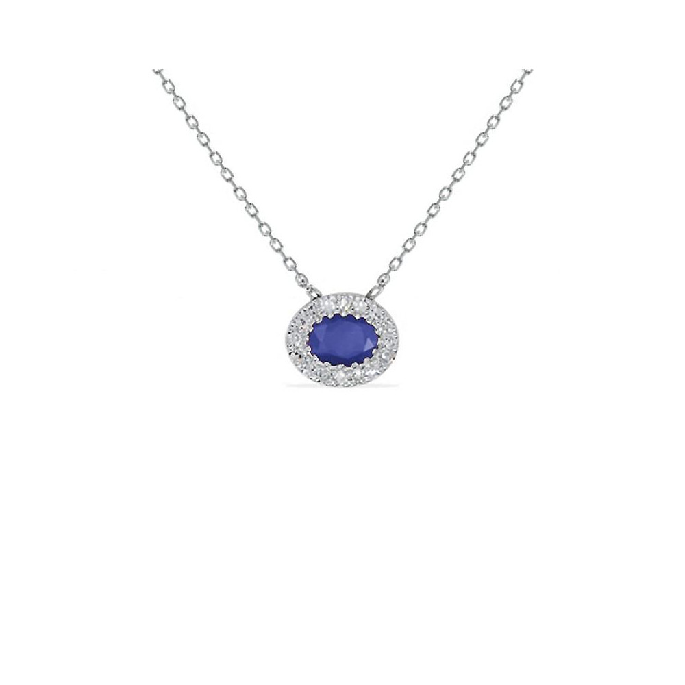 Collier Or blanc 375/00 saphir et diamants