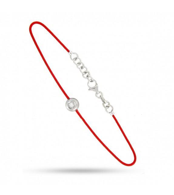 Bracelet rond diamant et argent sur fil rouge