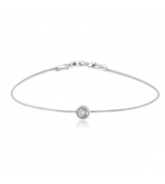 Bracelet rond diamant et argent sur fil transparent