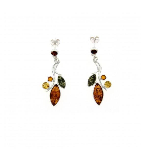 Boucles d'oreilles ambre tricolore argent 925/00