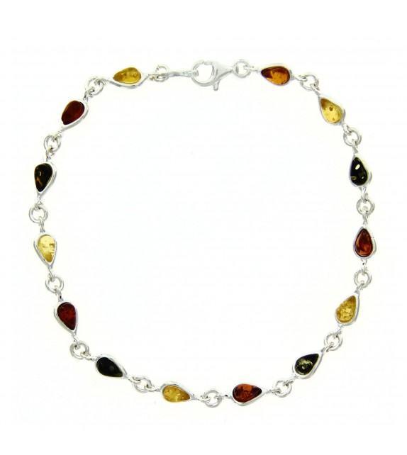 Bracelet ambre tricolore argent 925/00