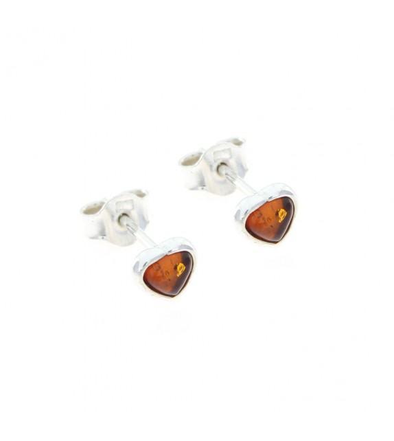 Boucles d'oreilles ambre cœur argent 925/00