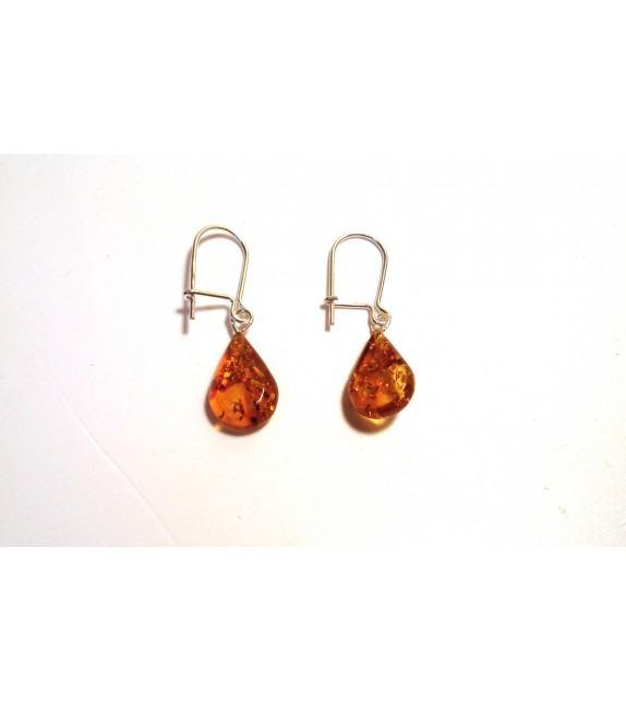 Boucles d'oreilles goutte argent 925/00 et ambre