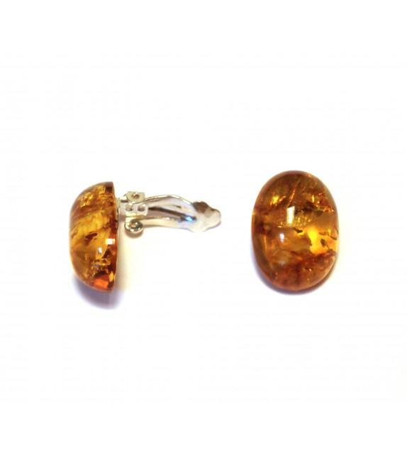 Boucles d'oreilles clips argent 925/00 et ambre