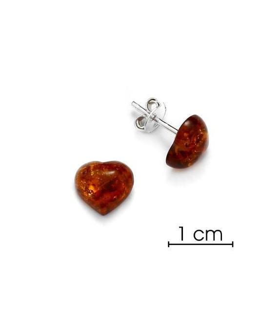 Boucles d'oreilles cœur argent 925/00 et ambre