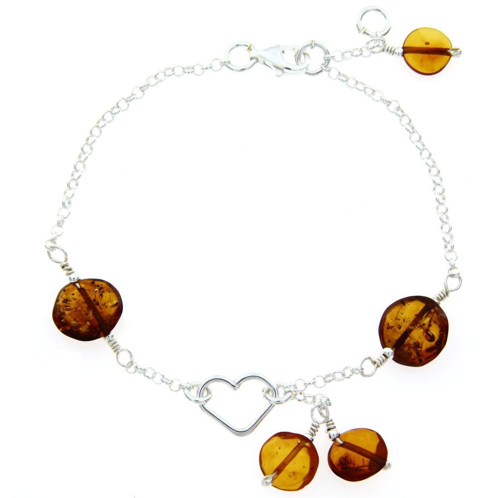 Bracelet ambre cœur argent 925/00