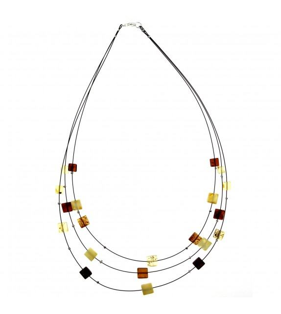 Collier ambre multicolore argent 925/00