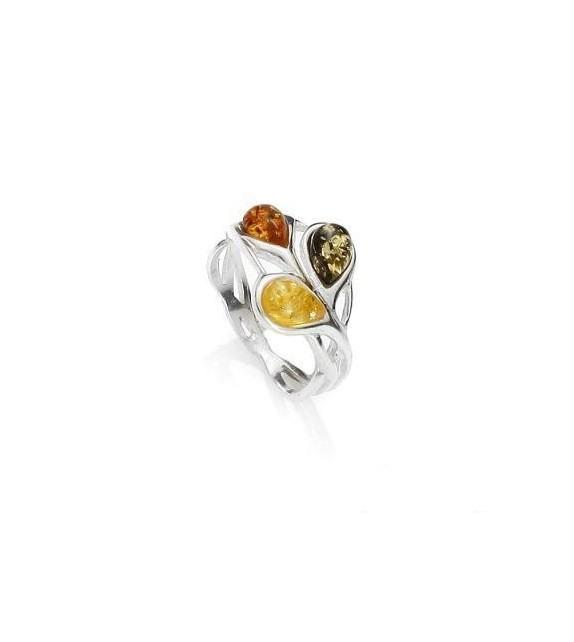 Bague ambre tricolore argent 925/00