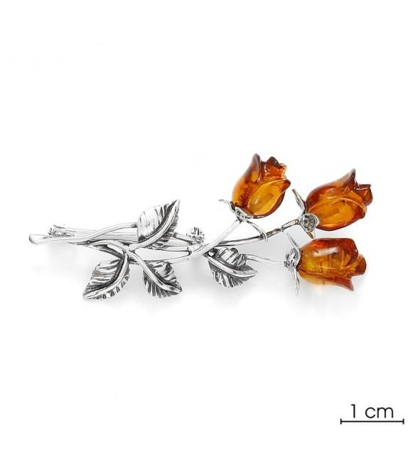Broche fleur ambre argent 925/00