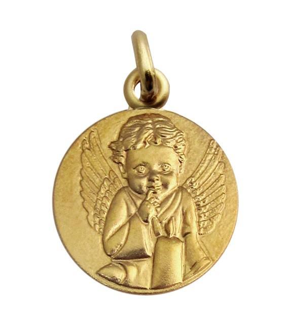 Médaille Ange à la bougie Or jaune 750/00