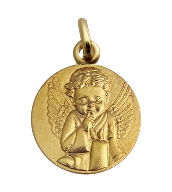 Médaille Ange à la bougie Or jaune 375/00