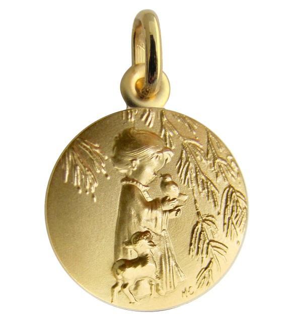 Médaille Ange à l'oiseau Or jaune 375/00