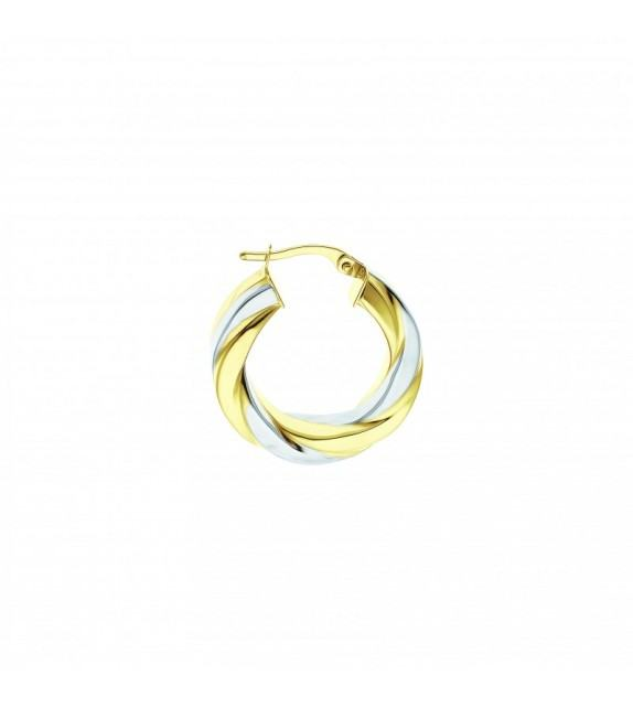 Boucles d'oreilles créoles or bicolore 750/00