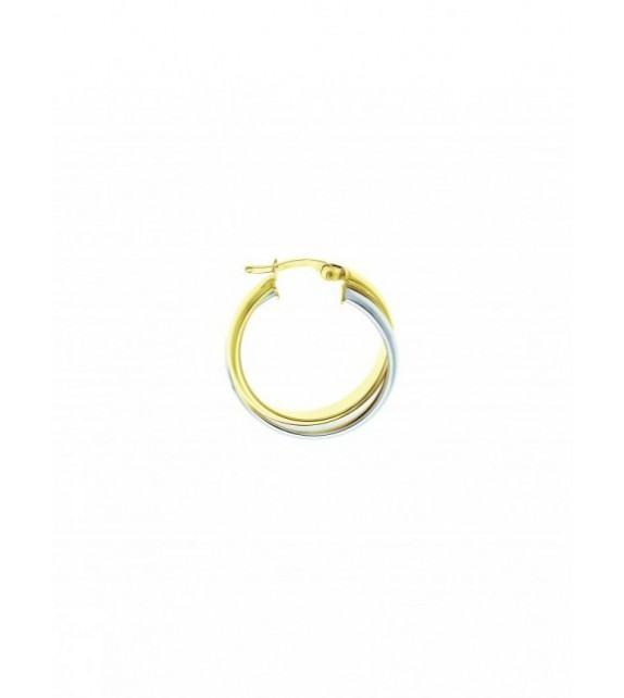 Boucles d'oreilles créoles or bicolore 375/00 - 15 mm