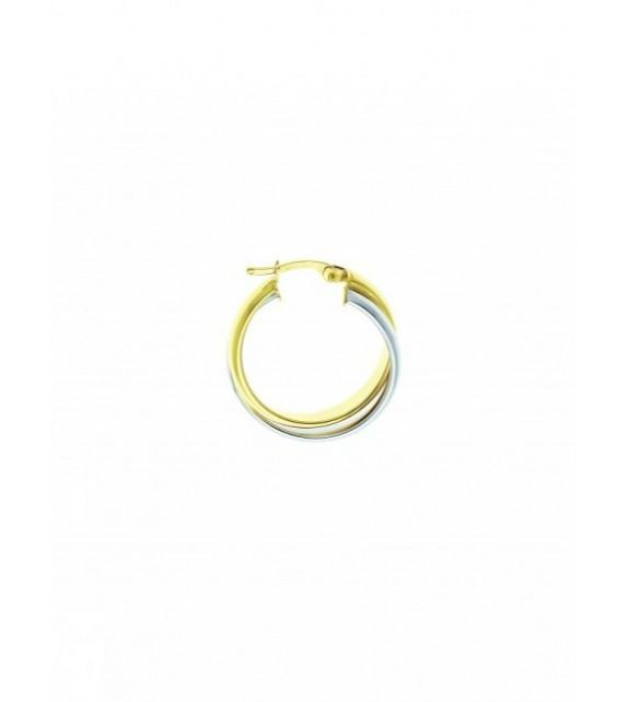 Boucles d'oreilles créoles or bicolore 375/00 - 20 mm
