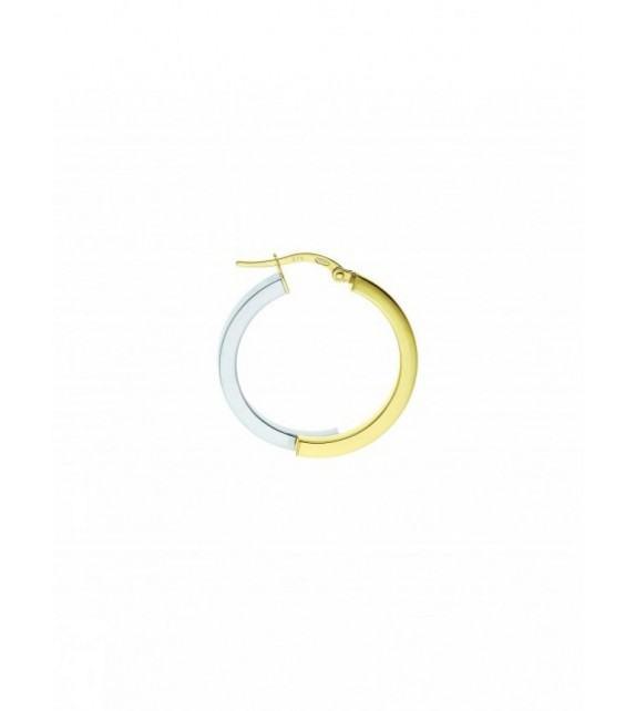 Boucles d'oreilles créoles bicolores or 375/00 - 15 mm