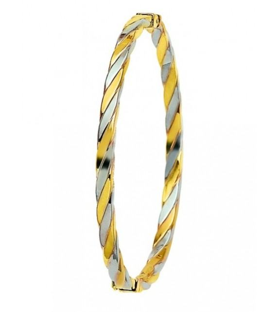 Bracelet jonc or bicolore 750/00