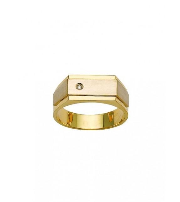 Chevalière or jaune 375/00 et diamant