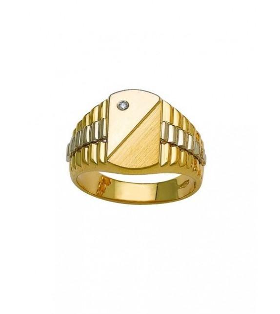 Chevalière or bicolore 375/00 et diamant