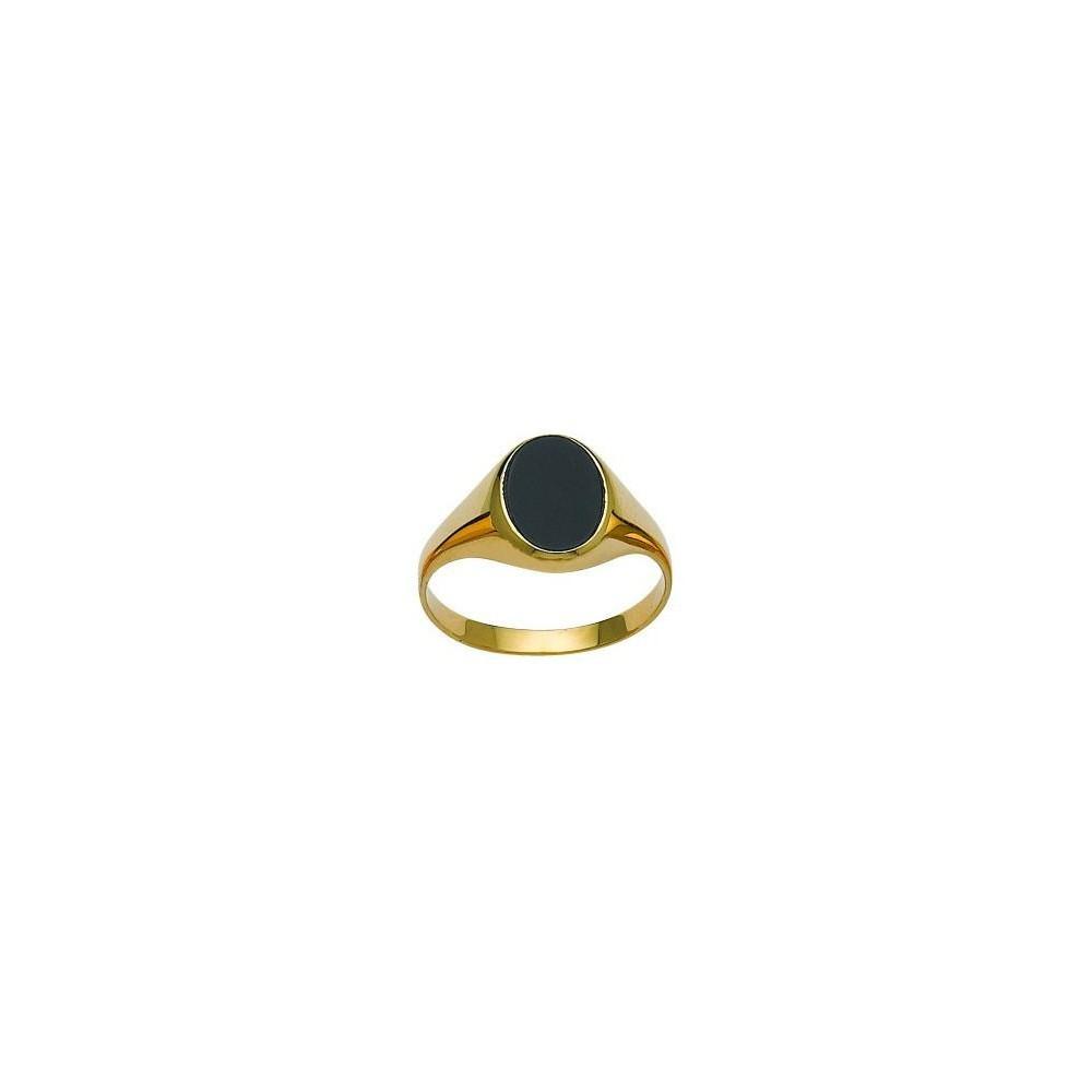Chevalière or jaune 375/00 et onyx