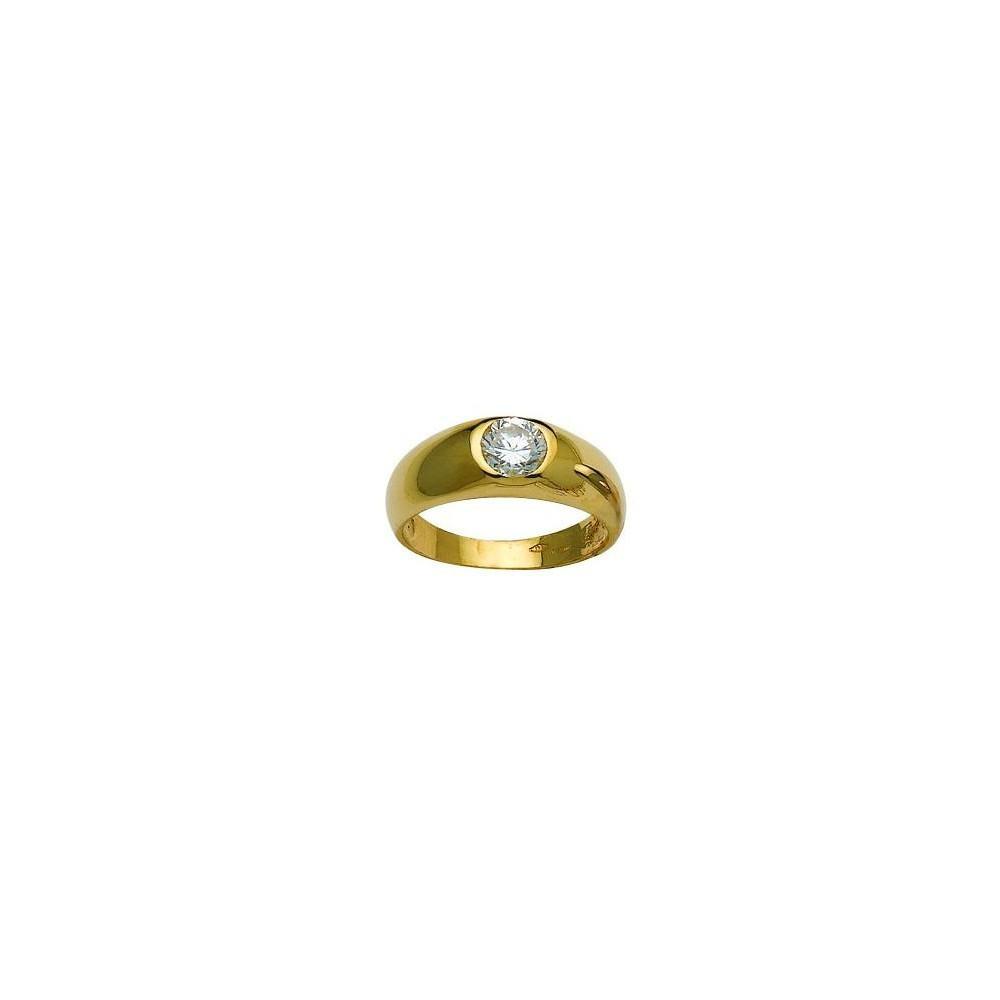 Chevalière or jaune 375/00 et oxyde de zirconium
