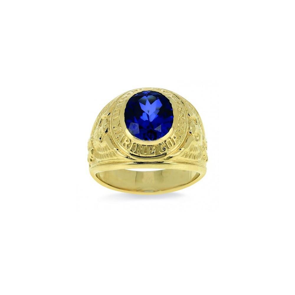 Chevalière or jaune 375/00 et pierre synthétique bleue