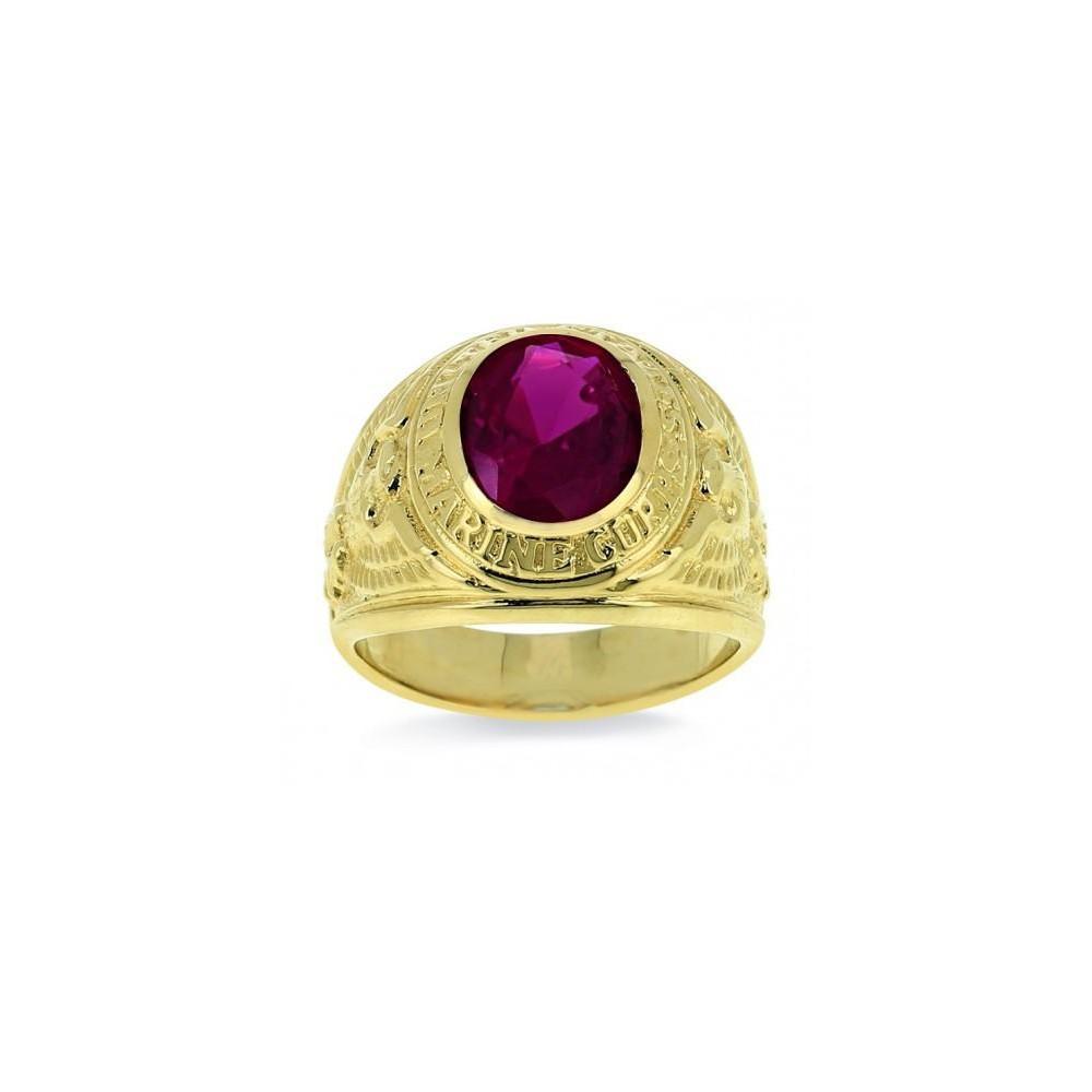 Chevalière or jaune 375/00 et pierre synthétique rouge