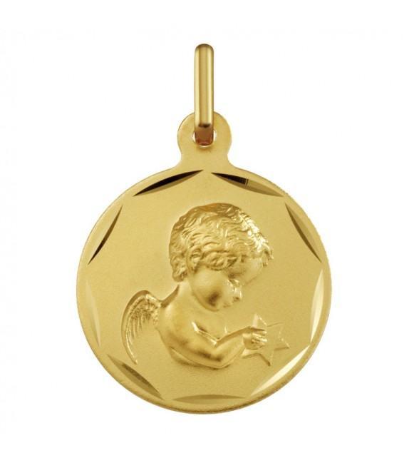 Médaille Ange avec étoile or Jaune 375/00