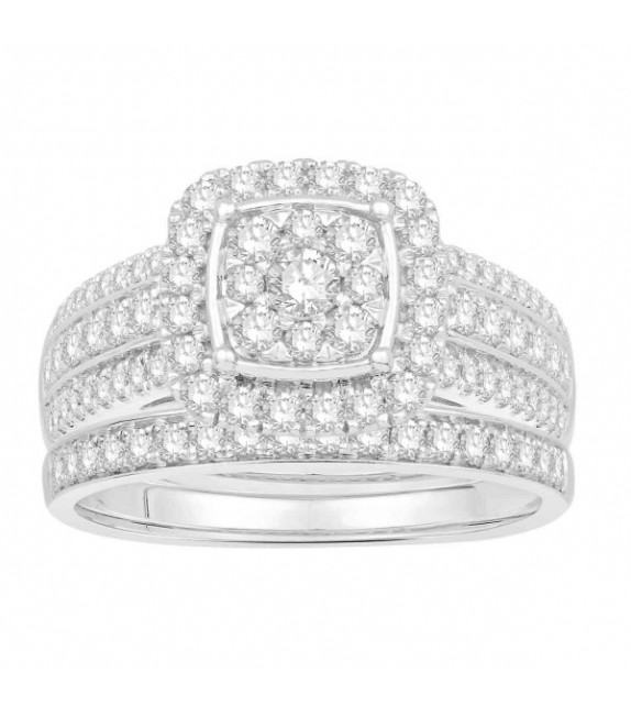 Bague diamants type solitaire halo épaulé Or blanc 375/00