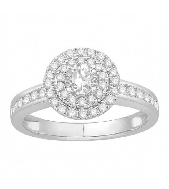 Bague diamants type solitaire halo épaulé Or blanc 375/00