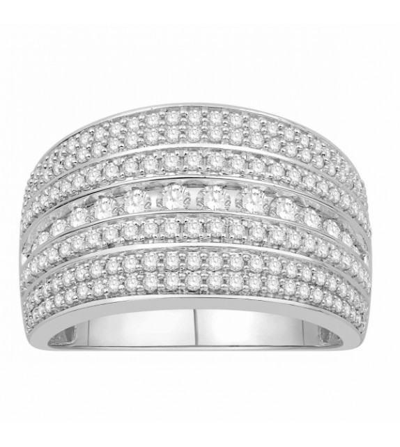 Bague diamants type jonc plat large Or blanc 375/00