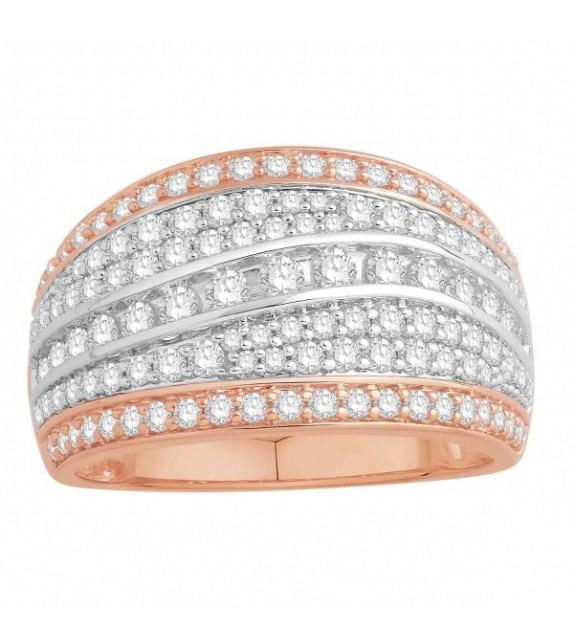 Bague diamants type jonc plat large Or bicolore 375/00
