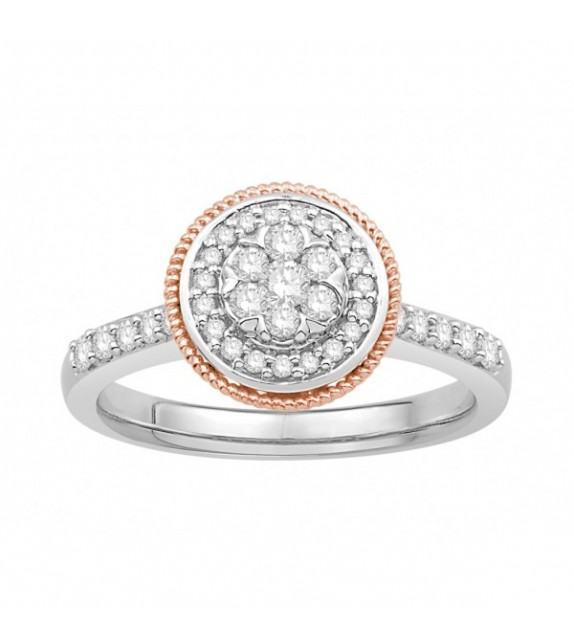 Bague diamants type solitaire halo épaulé Or bicolore 375/00