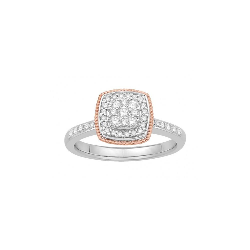 Bague diamants type solitaire halo épaulé Or bicolore 375/00