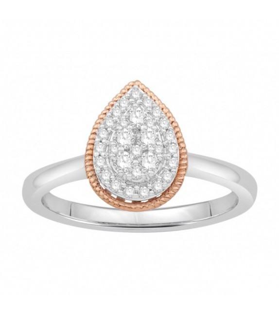 Bague diamants type solitaire halo épaulé Or bicolore 375/00 forme poire