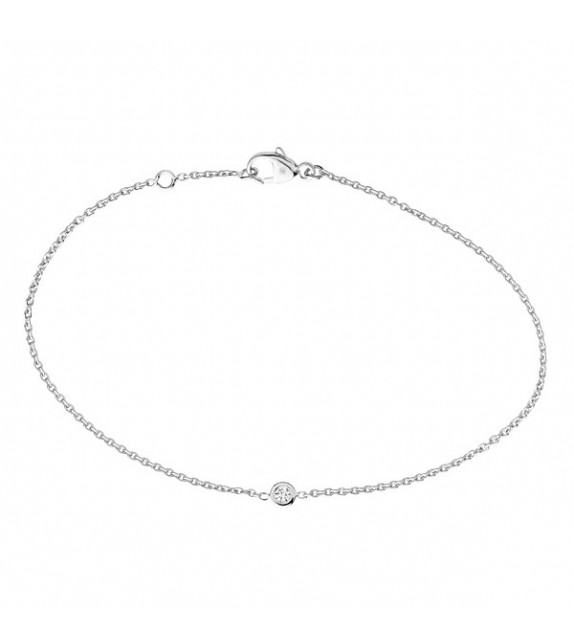 Bracelet diamants solitaire Or blanc 375/00