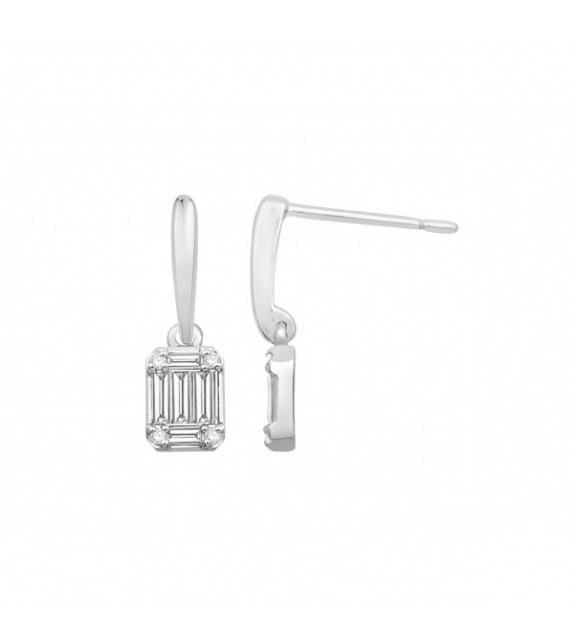 Boucles d'oreilles diamants Art Déco Or blanc 750/00