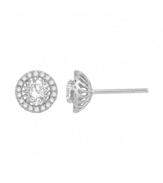 Boucles d'oreilles diamants Or blanc 375/00