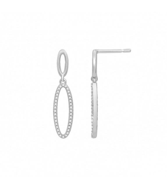 Boucles d'oreilles diamants pendantes Or blanc 375/00