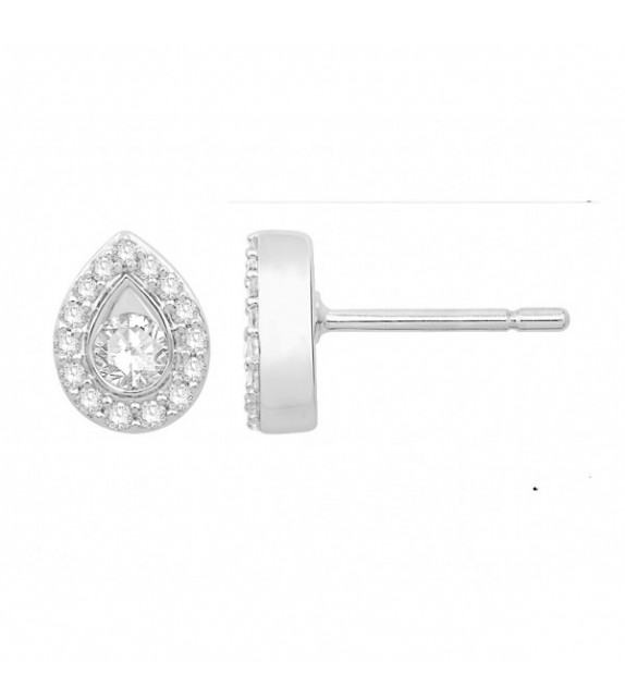 Boucles d'oreilles diamants Or blanc 375/00 poire