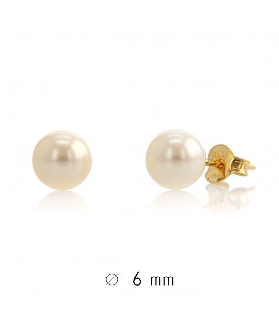 Boucles d'oreilles perles d'eau douce 6-6,5 mm Or jaune 750/00