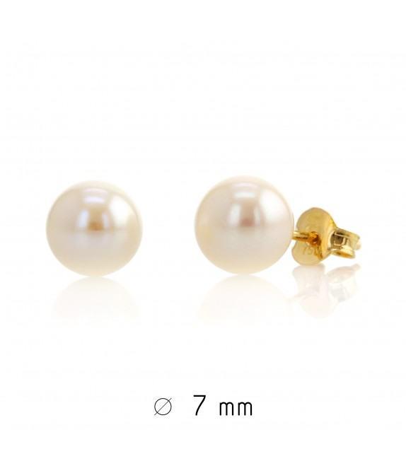 Boucles d'oreilles perles d'eau douce 7-7,5 mm Or jaune 750/00