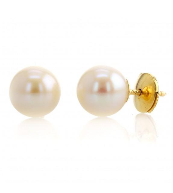 Boucles d'oreilles perles d'eau douce 9-9,5 mm Or jaune 750/00