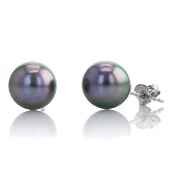 Boucles d'oreilles perles de Tahiti 9 mm Argent 925/00