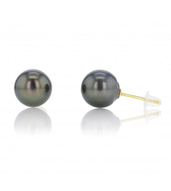 Boucles d'oreilles perles de Tahiti 8-9 mm Or jaune 375/00