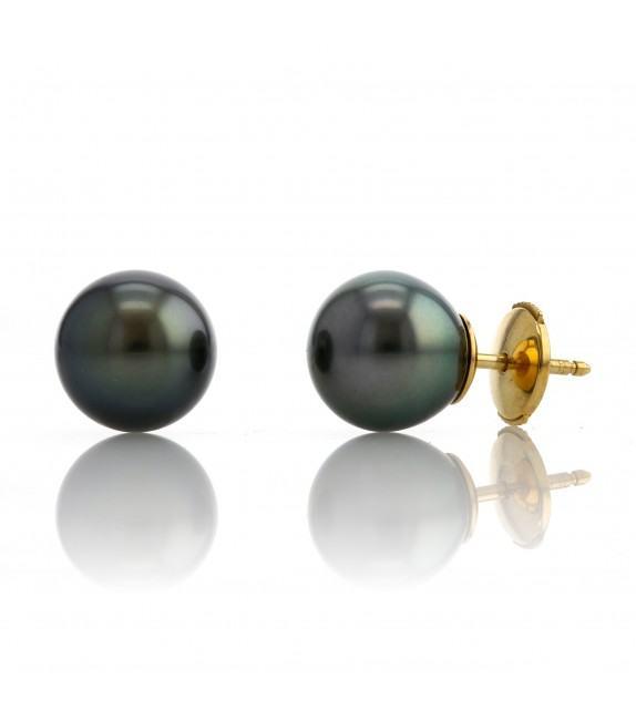 Boucles d'oreilles perles de Tahiti 8-9,5 mm Or jaune 750/00