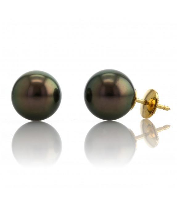 Boucles d'oreilles perles de Tahiti 10-11 mm Or jaune 750/00